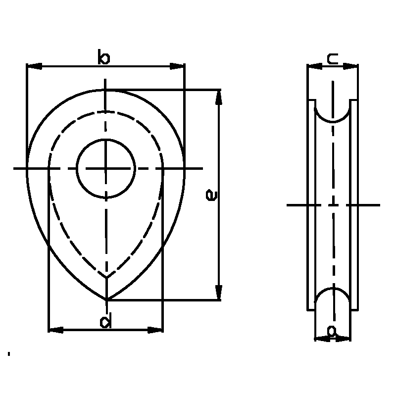BS464 Table 3-1958 Solid Thimbles Diagram