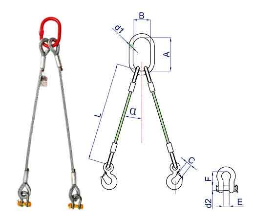 2-leg wire rope slings