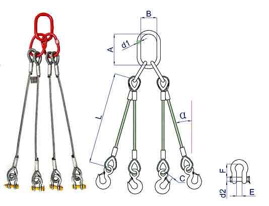 4-leg wire rope slings
