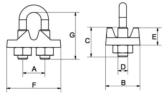 AS2076 Wire Rope Grips Diagram
