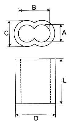 Aluminum Double Barrel Ferrules Diagram