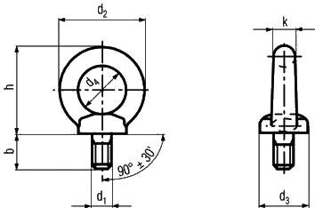 DIN580 Eye Bolts Diagram