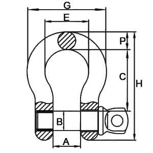 G-209 Screw Pin Anchor Shackles Diagram