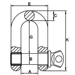 G-210 Screw Pin D Shackles Diagram