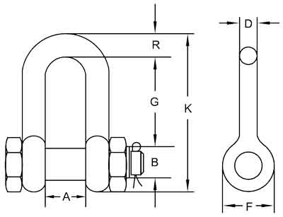 G-2150 Bolt type Chain Shackles Diagram