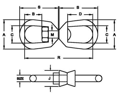 G-402 Regular Swivels Diagram