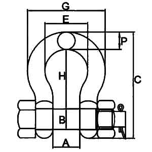G2130 Bolt type Anchor Shackles Diagram