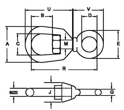 G-401 chain swivels diagram