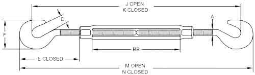 HG-223 Hook & Hook Turnbuckles Diagram
