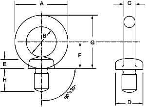 JIS1168 Eye Nuts Diagram