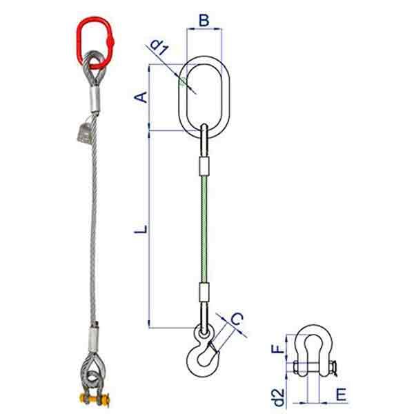 Single Leg Wire Rope Slings
