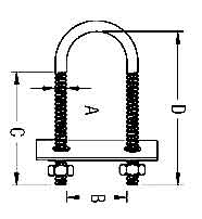 Stainless Steel U Bolt with Plate Diagram