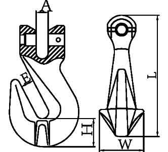 A-330 Clevis Grab Chain Hooks Diagram