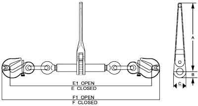 EN12195-3 Ratchet Load Binder Diagram